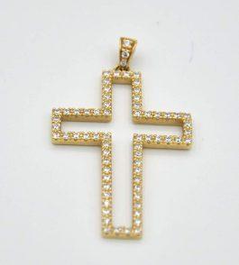 Pandantiv cruce din Aur dama Lotie